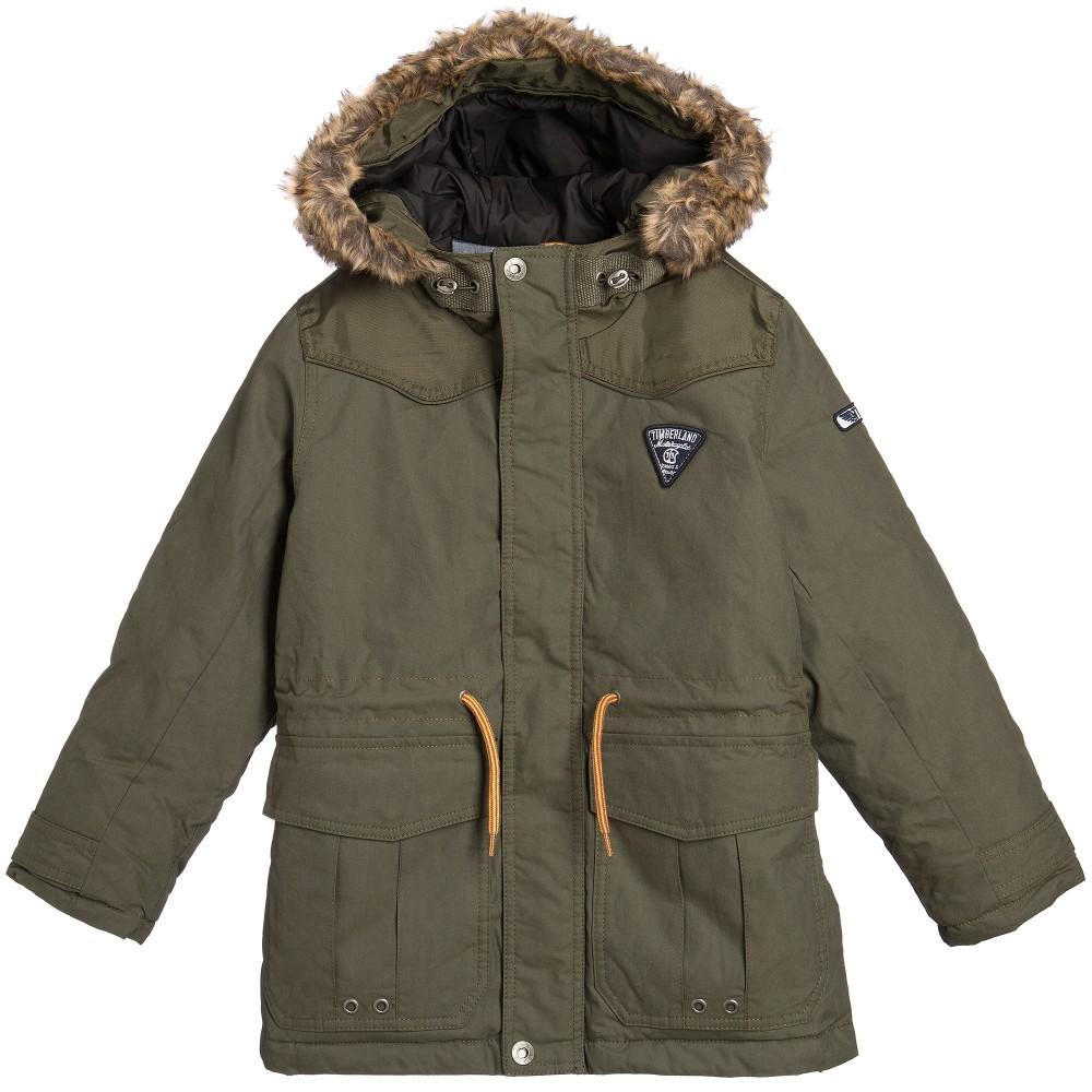 boys parka coats timberland - boys green hooded parka coat with fur trim | childrensalon LTFSCCX