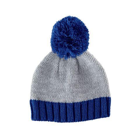 boys winter hats blue and grey toddler boy winter hat with pom pom PXBRJVW