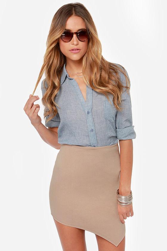 breaking point asymmetrical beige skirt MRNHSXG