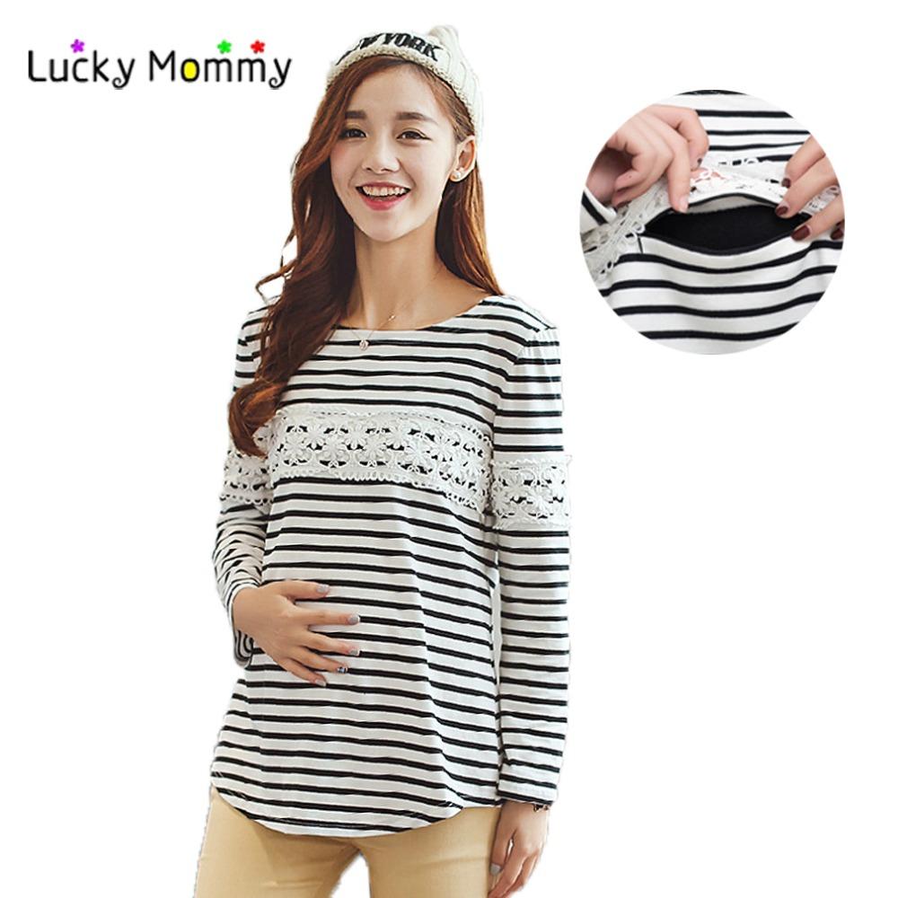 breast feeding tops autumn winter velvet warm winter nursing shirt breastfeeding tops clothing  stripe casual nursing XPIYABO