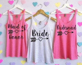 bridesmaid tank tops arrow design. bachelorette tank tops. wedding tank tops.  bridesmaid shirts BXQELYM