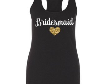 bridesmaid tank tops, black bridesmaid tank top, bridal party shirts,  wedding tank tops GARVAQS