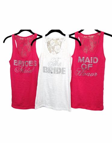 bridesmaid tank tops burnout lace tank tops - rhinestone bridal party titles - junior sizes TFHBMVY