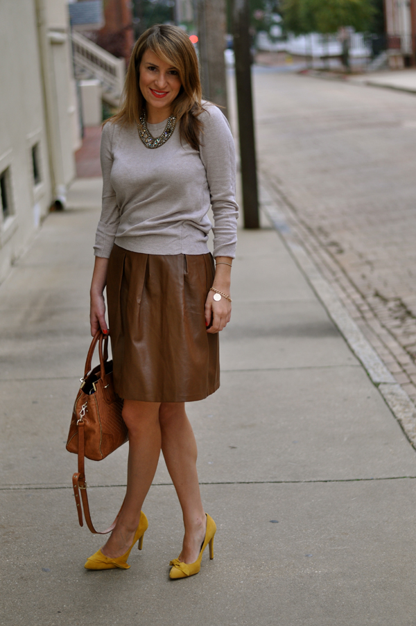 brown leather skirt brown skirt dressed up girl HHWFUIN