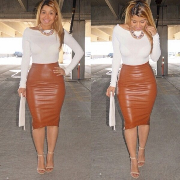 brown leather skirt lady tasha in an amazing leather outfit. | outfit ideas for my ... leather ZMTFATL