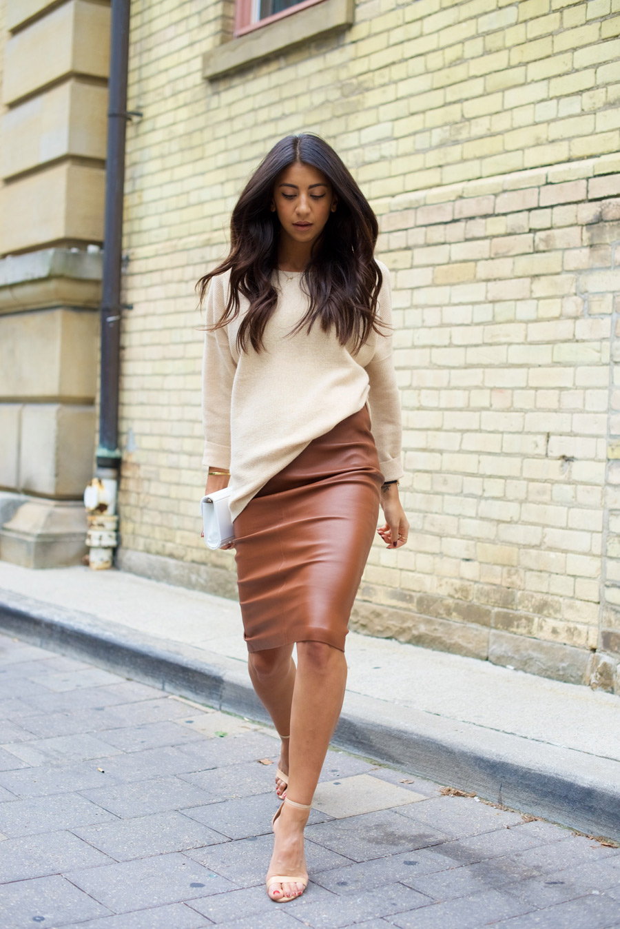 brown leather skirt neutral pencil PDUFODO