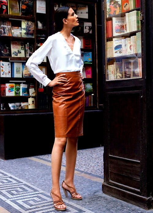 Latest Fashionable Brown Leather Skirt for Girls