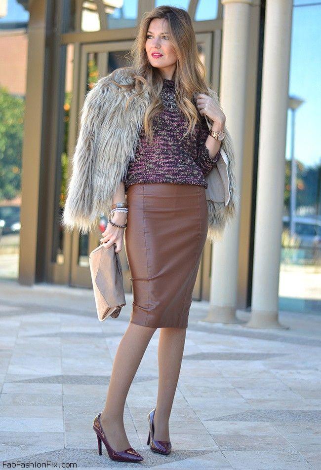 brown leather skirt outfit - modern skirts blog for you KIULRKK
