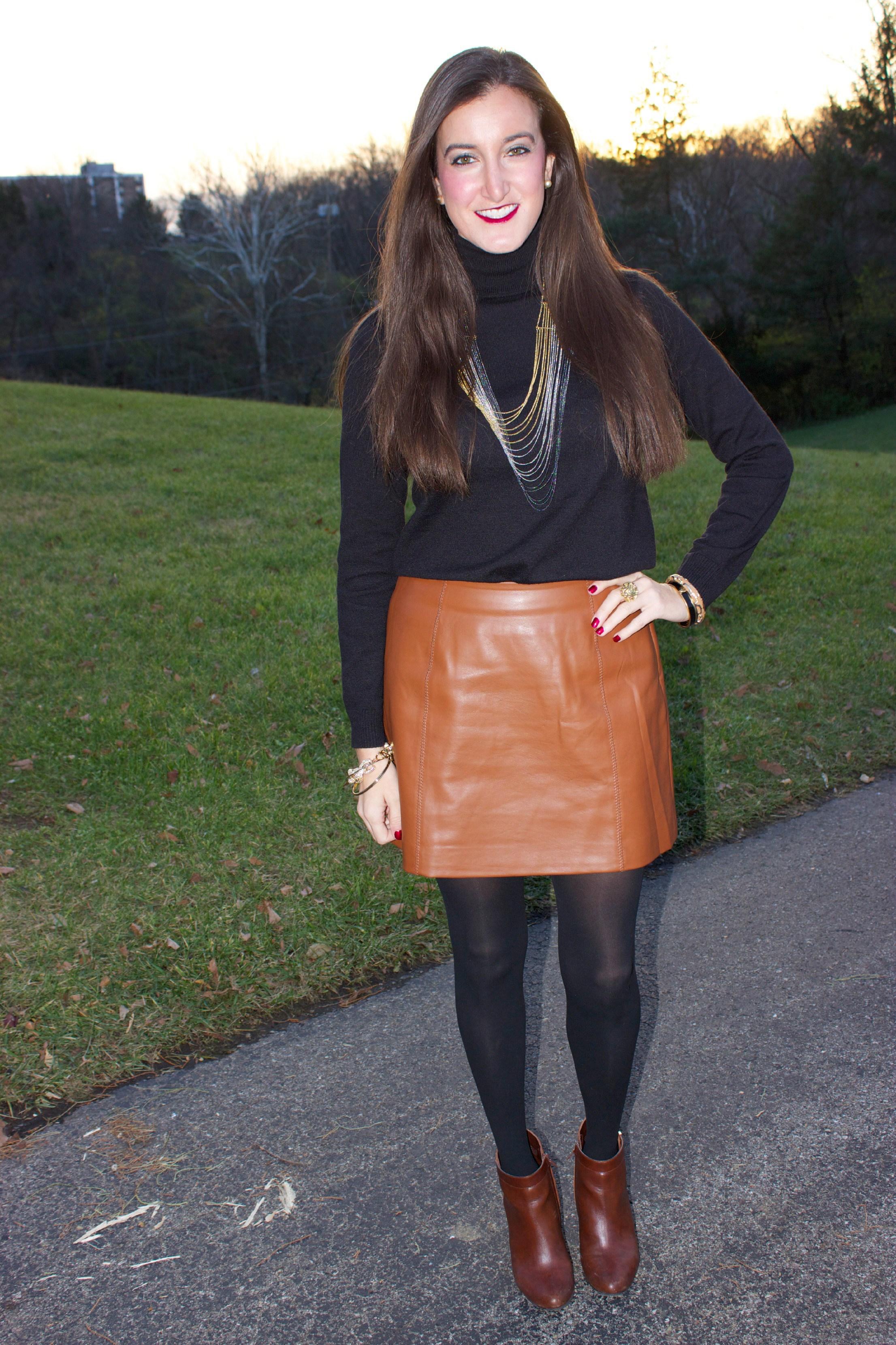 brown leather skirt ZAMQULN