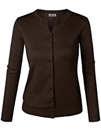 brown sweater biadani women button down long sleeve soft knit cardigan sweater FBHNZYV