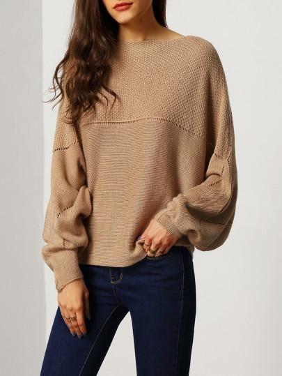 brown sweater brown batwing boat neck sweater YNBORGP