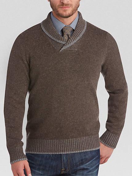brown sweater joseph abboud brown shawl collar sweater IVQYDII