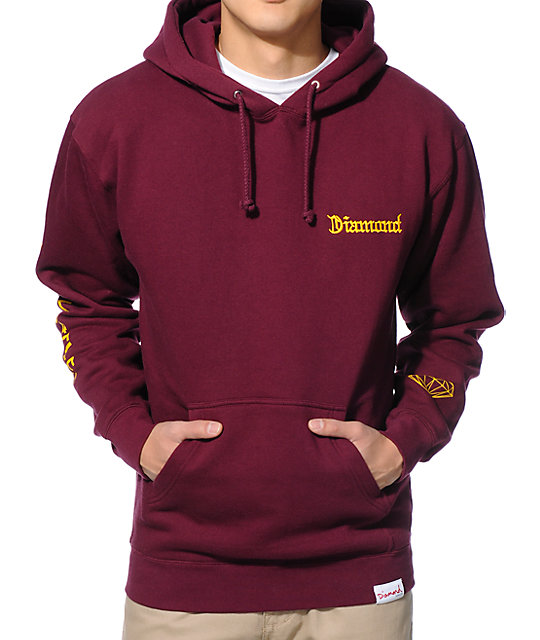 burgundy hoodie diamond supply co dmnd4life burgundy pullover hoodie UZEFDAM