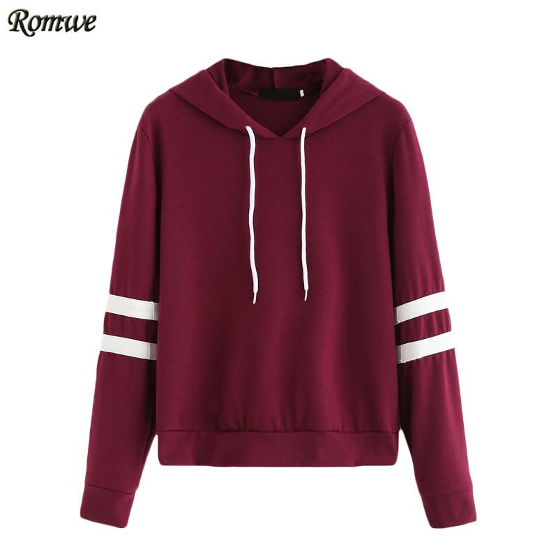 burgundy hoodie romwe casual women hoodie for autumn ladies burgundy long sleeve varsity  striped drawstring KKDVYCI