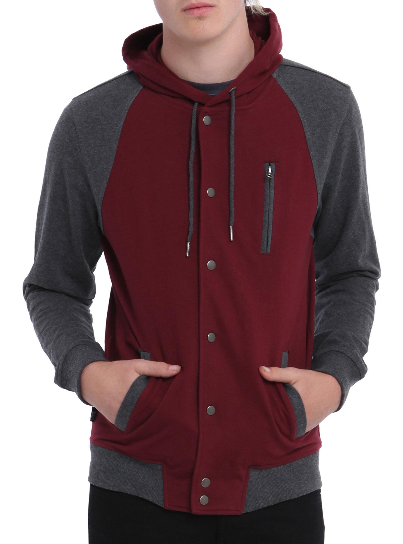 burgundy hoodie rude burgundy u0026 grey hoodie, black, hi-res. loading zoom RJWURKX