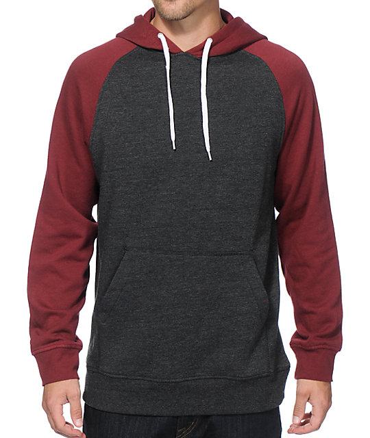 burgundy hoodie zine campus 2 tone hoodie UWYMXEV