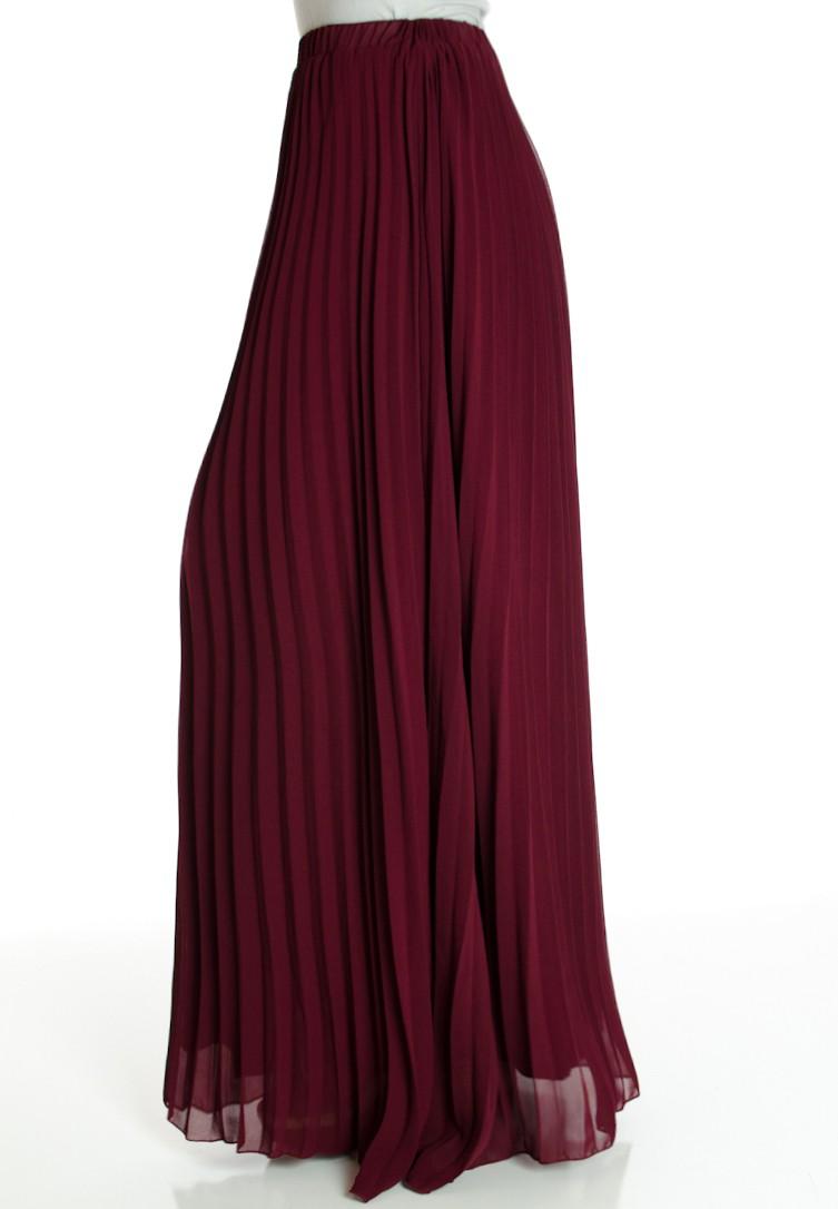burgundy pleated maxi skirt HHXIAJA