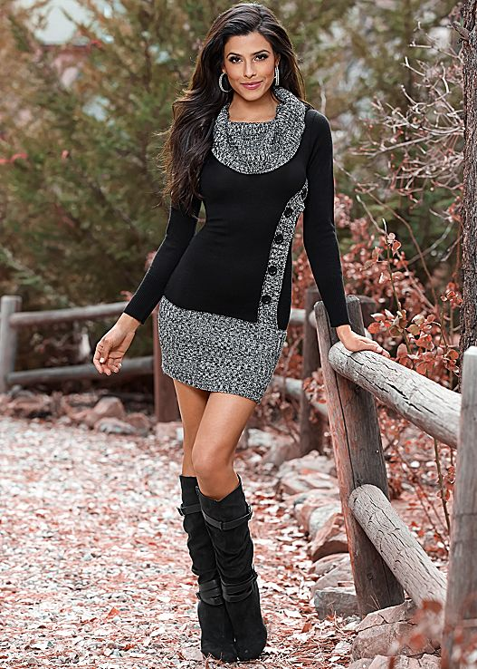 button front sweater dress, slouchy layered strap boot HTLUQOE