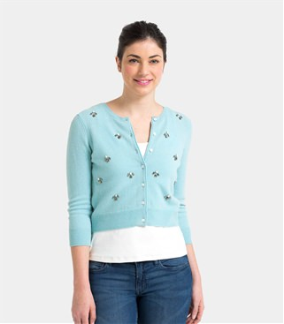 cashmere jumper womens cashmere and merino embellished crop crew cardigan WDQXYHI