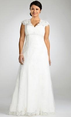 charming empire v-neck beaded lace plus size wedding dress JNUKLOO