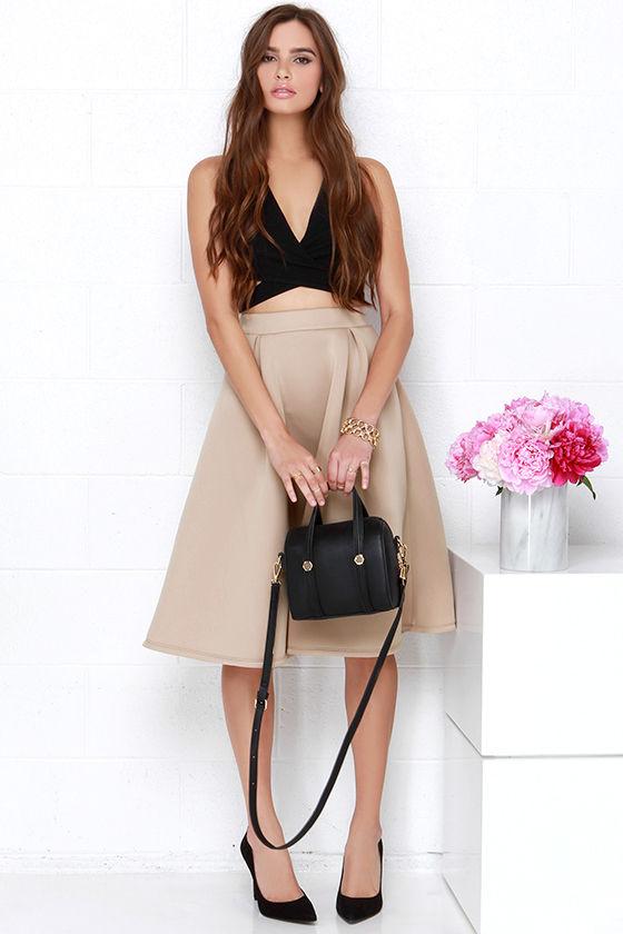 chic beige skirt - midi skirt - high-waisted skirt - $39.00 QJOULZS