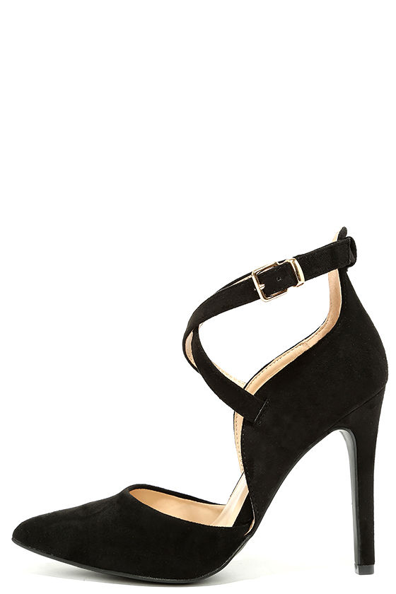 chic black heels - black suede heels - vegan suede pumps - $28.00 KZYWOAV