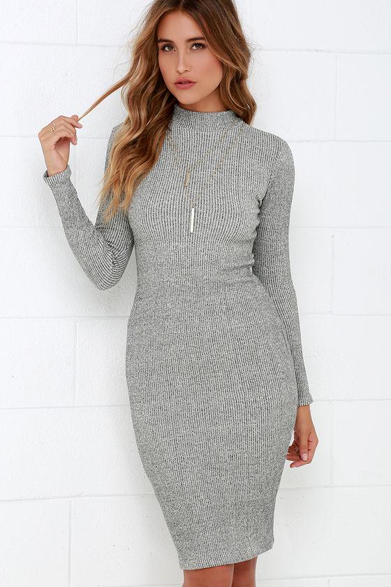 chic grey dress - midi dress - bodycon dress - sweater dress - $59.00 ZPUFLVT
