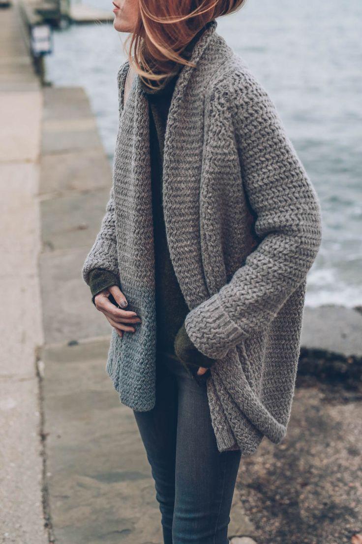 chunky knit cardigan @jessannkirbyu0027s cozy take on our mixed stitch open cardigan. chunky knit ... WAQVLZU