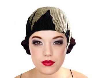 cloche hats black knit flapper hat cloche hat gold leaf 1920s great gatsby winter  autumn UJSAGTK