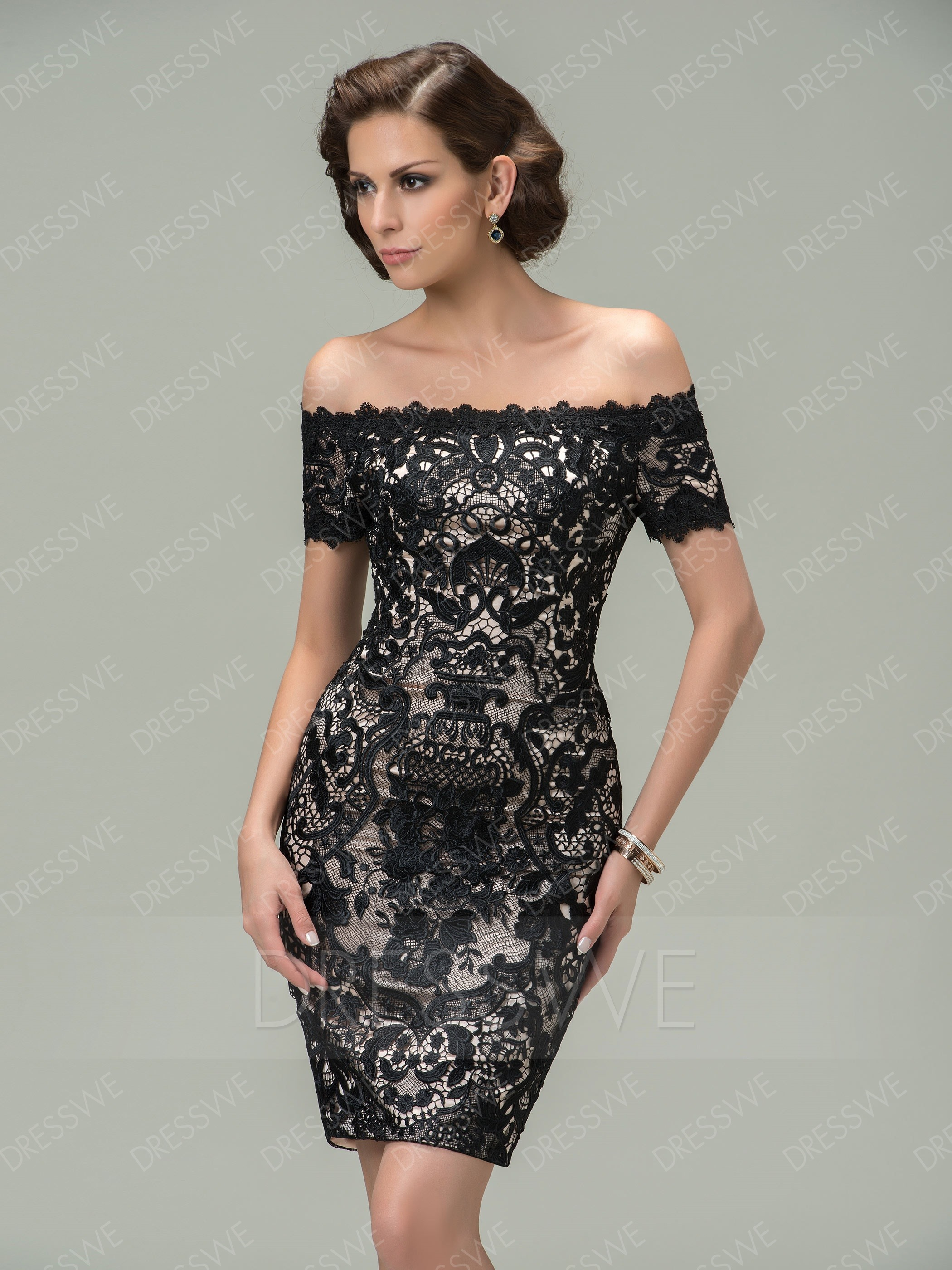 cocktail dress picture: dresswe.com supplies sheath off-the-shoulder lace short cocktail  dress cocktail dresses ... HFZOWGI