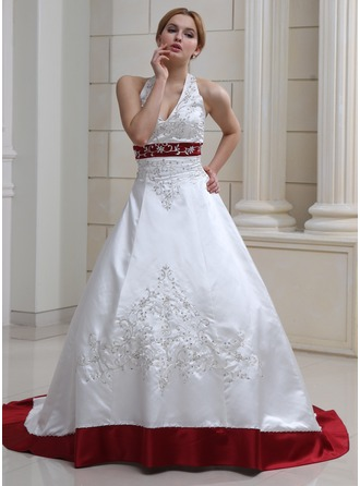 color wedding dresses ball-gown halter court train satin wedding dress with embroidered beading  sequins CLRECOE