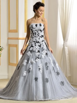 color wedding dresses floor length a-line strapless lace appliques color wedding dress RBGRHED