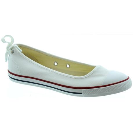 Converse Ballerina converse dainty ballerina flat shoes in white main image OSTNJVF