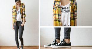 converse clothing sietske l - hu0026m beanie, olive clothing checkered shirt, cheap monday  tanktop, converse BQOINWM