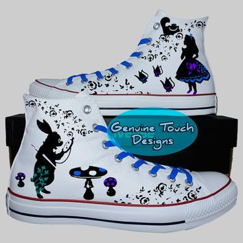 converse custom custom converse, alice in wonderland, alice fanart shoes, custom chucks,  painted shoes VHHVHST