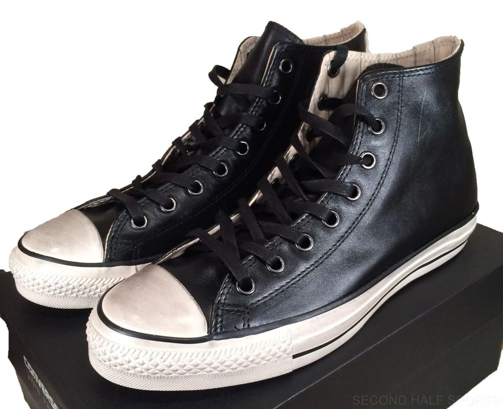 converse john varvatos burnished leather hi all star chuck taylor black  147364c | VKHSGMI
