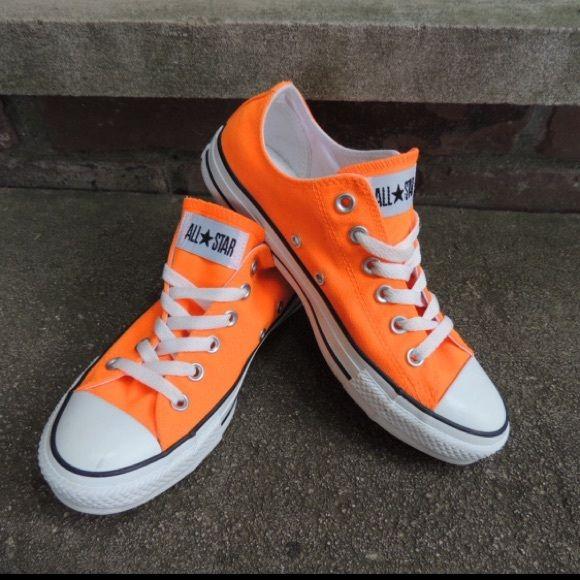 converse neon orange size 7 super cute !!! neon orange converse size 7 like XBAAHLI