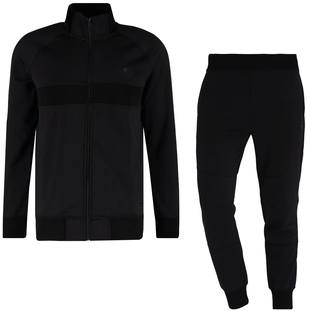 Converse Tracksuit converse black zip-up full poly cotton tracksuit 10003392 NNTORIE
