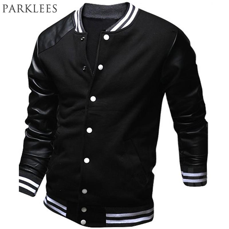 cool jackets cool college baseball jacket men 2017 fashion design black pu leather  sleeve mens PKXCNAM