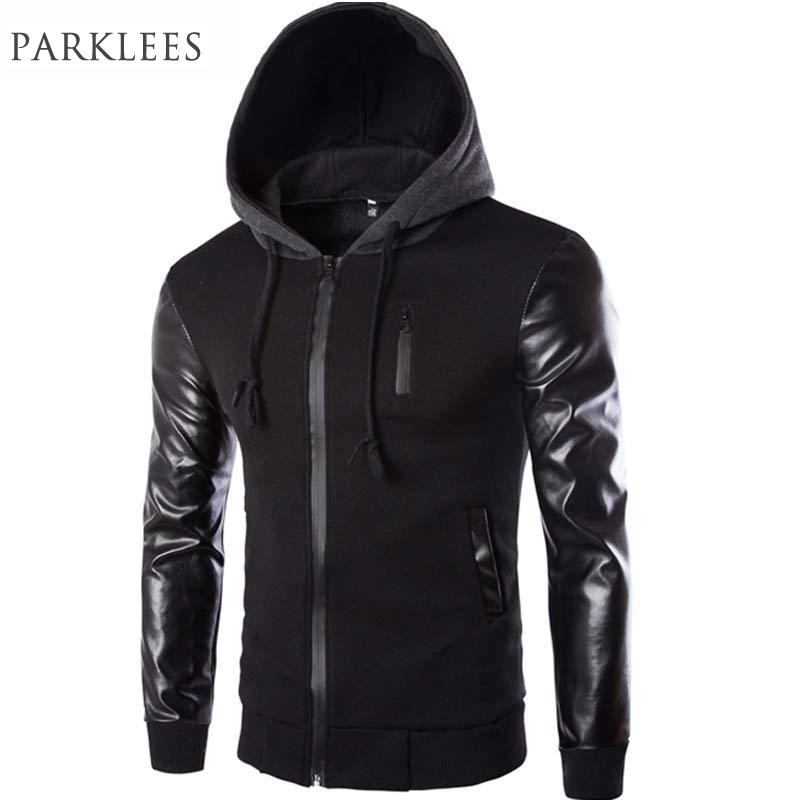 cool jackets cool hooded jacket men 2017 spring fashion pu leather sleeve splice bomber  jacket ISMWWFL