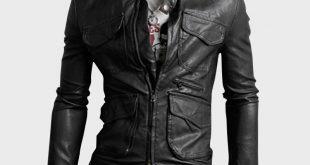 cool jackets multi pocketed slim leather jacket RKZMFNV