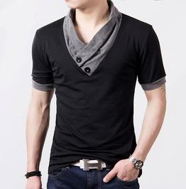 cool shirts for men gothic punk v neck button design short sleeve slim t shirt ZLSDRZW