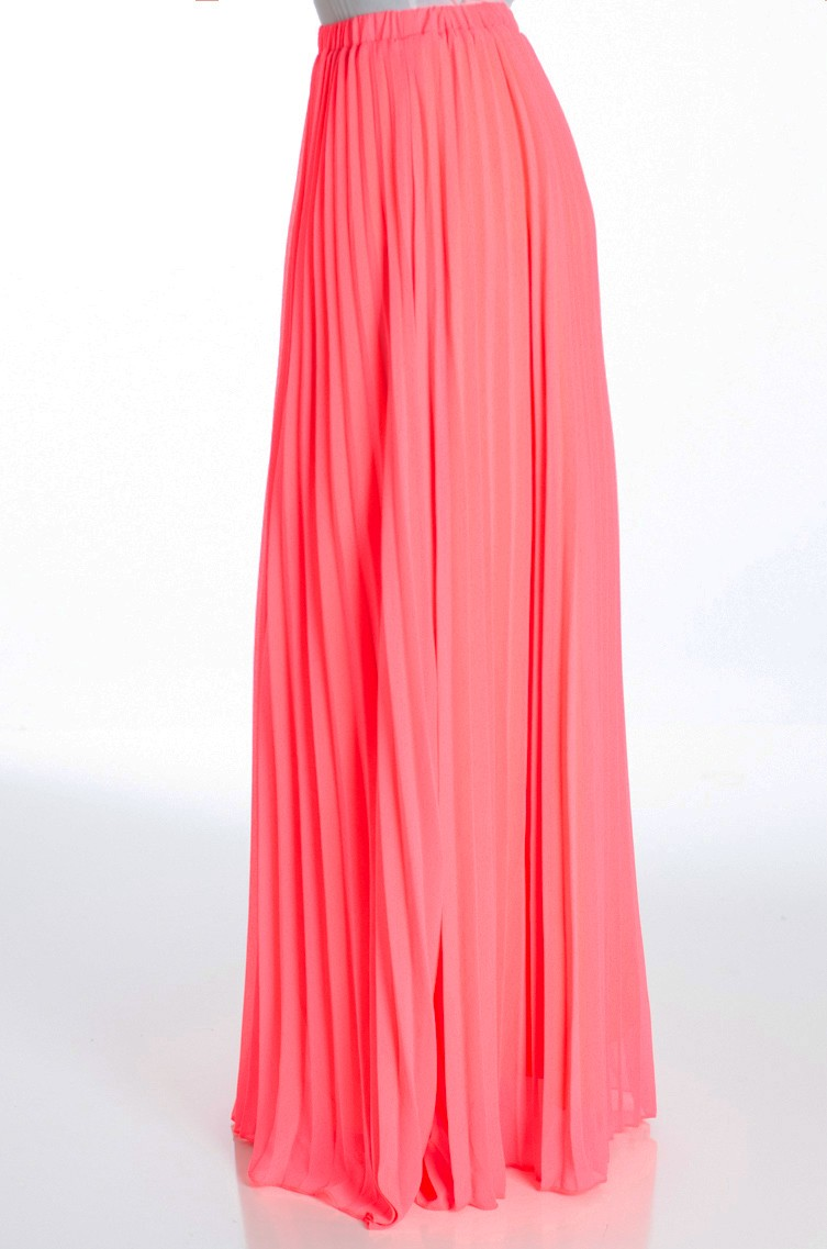 coral pleated maxi skirt ITLKRRY