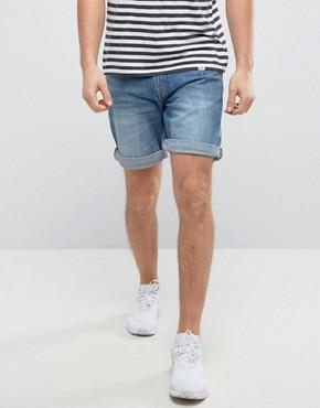 denim shorts for men pullu0026bear regular fit denim shorts in dark wash UWFSTFW