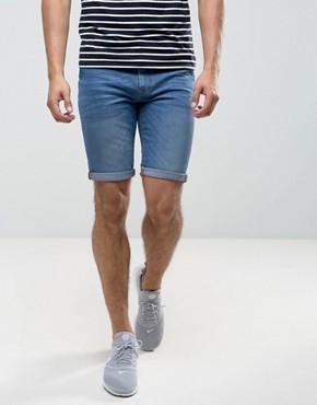 denim shorts for men river island skinny fit denim shorts in midwash WNJQQYY