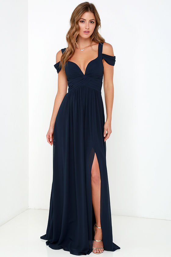 elegant navy blue dress – maxi dress – cocktail dress – prom dress – BAHTFUJ