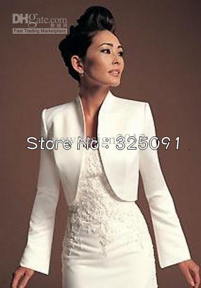 elegant white bridal long sleeve bolero jackets women fashion wedding satin  wrap formal DMALVPV