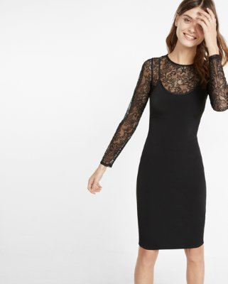 express dresses ... discountexpress view · lace sleeve silky slip dress VNBGHWX