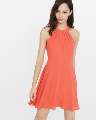 express dresses halter fit and flare dress | express GNZEQET