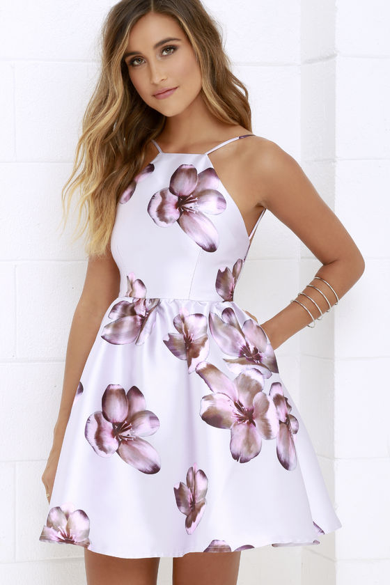 floral dress lovely floral print dress - backless dress - skater dress - $59.00 ANLLJCK